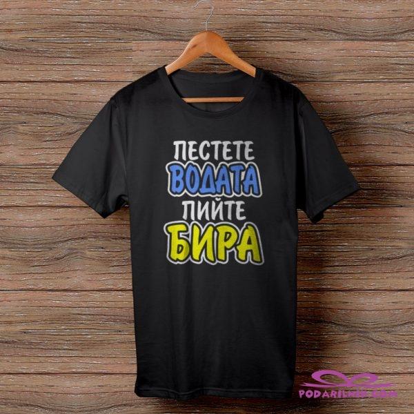 Тениска с щампа Пестете водата