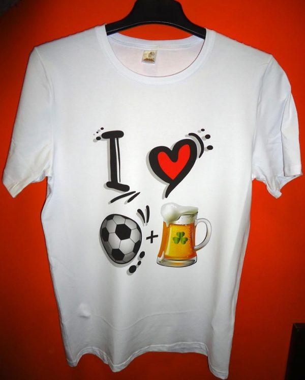 Тениска Обичам Футбол и Бира