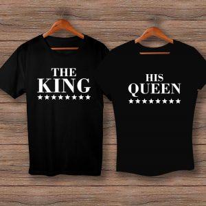 Тениски THE KING и HIS QUEEN - черни