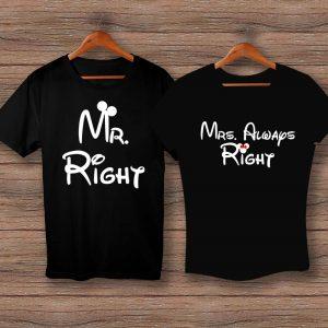 Тениски Mr. Right и Mrs. Always Right - черни
