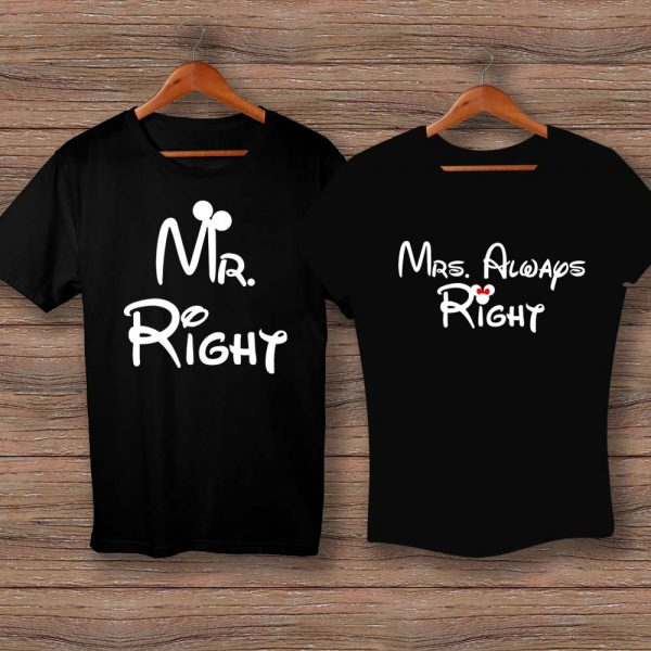 Тениски Mr. Right и Mrs. Always Right - черни