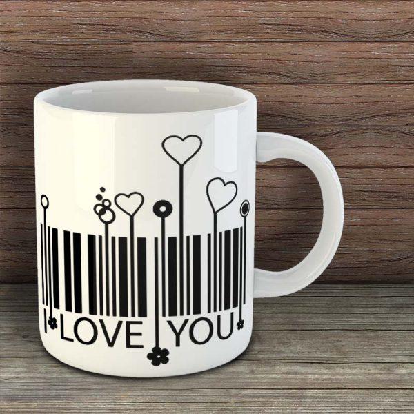 Чаша - I love you - баркод