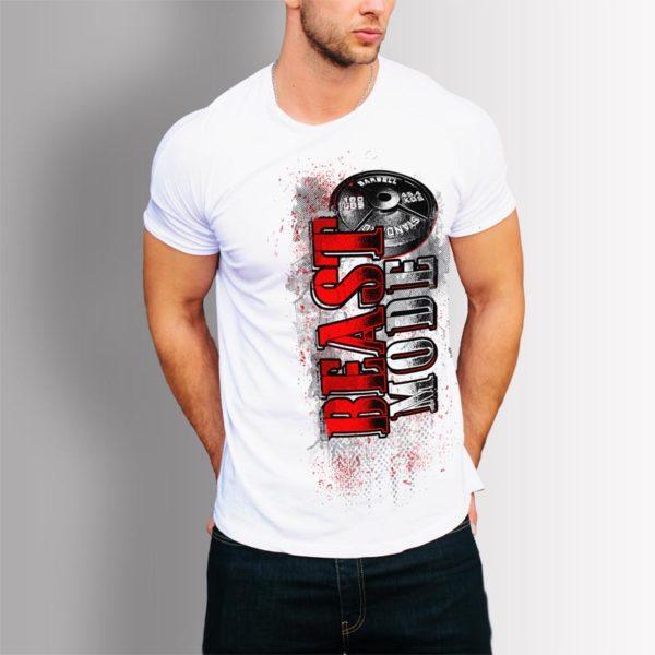 Фитнес тениска BEAST MODE - бяла