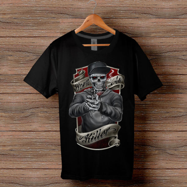 Тениска с щампа Born As Killer