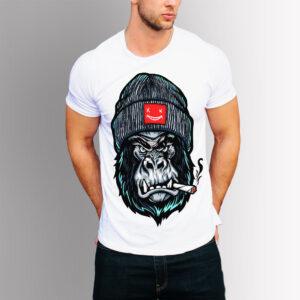 Тениска с щампа Горила - Бяла
