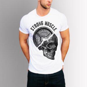 Фитнес тениска Strong Muscle - бяла