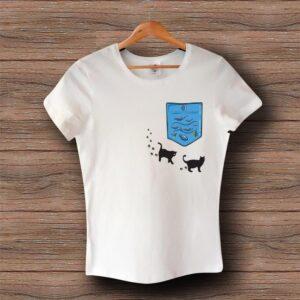 Тениска с щампа - Джоб с Котки и Аквариум