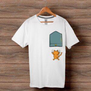 Тениска с щампа - Джоб с падащо коте
