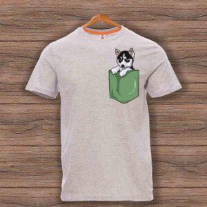 Тениска с щампа - Джоб с Хъски