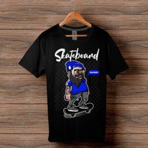 Скейтърска тениска 016 - Черна