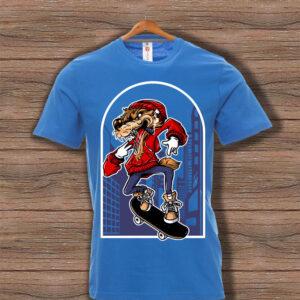 Скейтърска тениска 001 - Синя