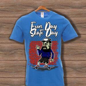 Скейтърска тениска 021 - Синя