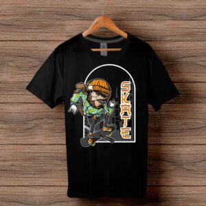 Скейтърска тениска 022 - Черна