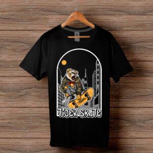 Скейтърска тениска 023 - Черна
