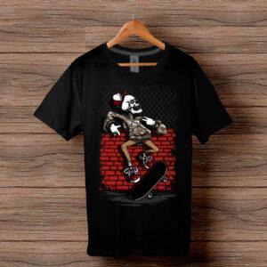 Скейтърска тениска 024 - Черна