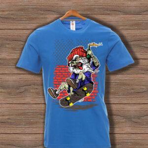 Скейтърска тениска 003 - Синя