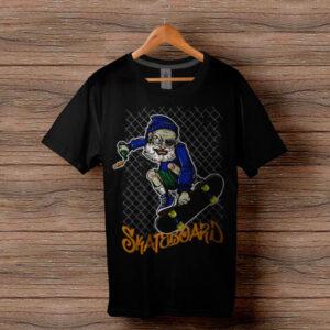 Скейтърска тениска 004 - Черна