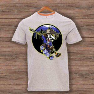 Скейтърска тениска 002 - Сив меланж
