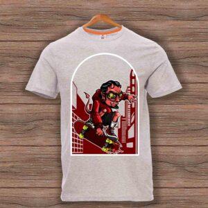 Скейтърска тениска 020 - Сив меланж