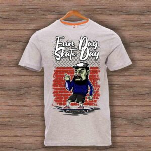 Скейтърска тениска 021 - Сив меланж