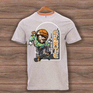Скейтърска тениска 022 - Сив меланж