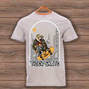 Скейтърска тениска 023 - Сив меланж