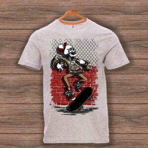 Скейтърска тениска 024 - Сив меланж