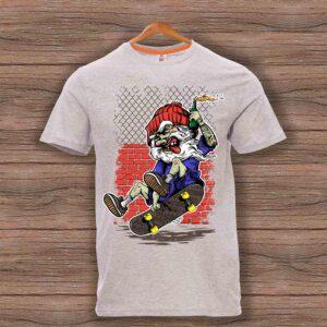 Скейтърска тениска 003 - Сив меланж