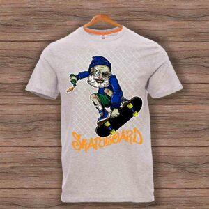 Скейтърска тениска 004 - Сив меланж
