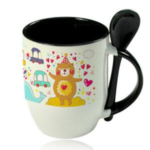 Чаша с лъжичка със снимка - Черна