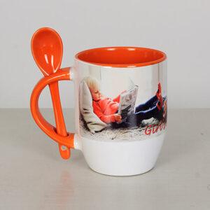 Чаша с лъжичка със снимка - Оранжева