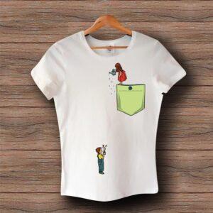Тениска с щампа - Джоб - Деца - Цветя